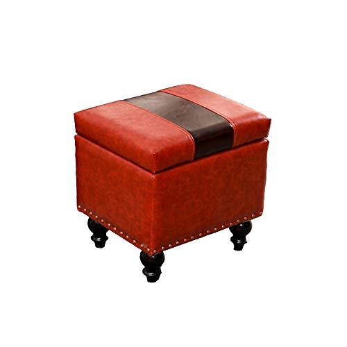 Sitzhocker Mit Stauraum, Ölwachs Leder Quadrat Lagerung, Hocker Mit Stauraum Sitzhocker Sofa Fußbank Kann Verwendet Werden, Um Schuhe Zu Wechseln, Schminktisch,A -