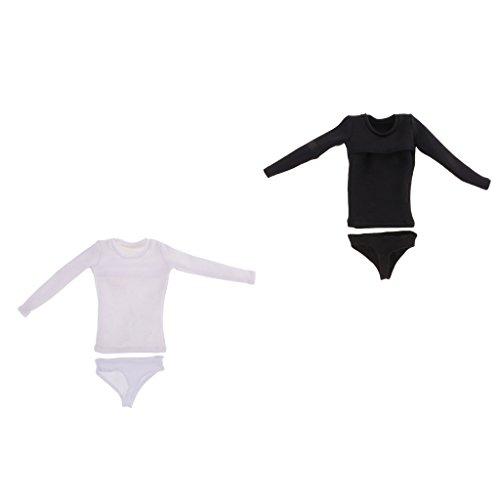 langärmelige T-Shirt Kleidung mit Slips Unterhose für 12 Zoll weiblichen Action Figur Körper ( Weiß + Schwarz ) (Weibliche Action Figur Kostüme)