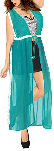 Plain Beach Kimono Cardigan Strand Chiffon Bluse Tops Bikini Cover up Teal blau_B474 DE Größe: 32 (XS) - 44 (L) ()