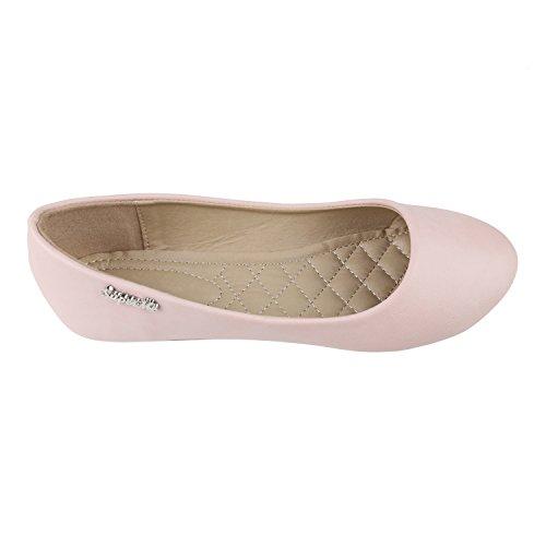 Klassische Damen Ballerinas   Flats Leder-Optik Lack   Metallic Schuhe Glitzer Schleifen   Ballerina Schuhe Übergrößen Rosa Glatt
