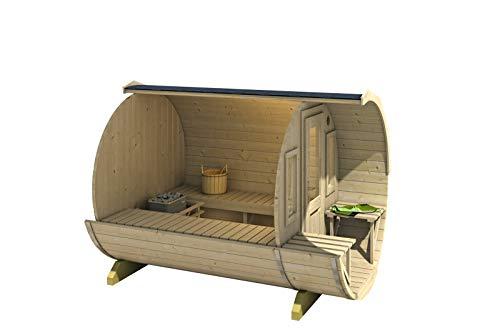 FinnTherm Fass-Sauna Sam, Premium-Thermoholz, inkl. Elektro-Ofen (6 kW) - 2