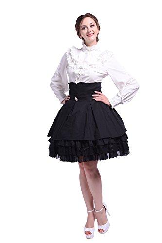 ische Chiffon Rüschen Langarm Bluse with Rock Vintage Lolita Gothic Puff (Schwarz Und Weiß Viktorianischen Perücke)