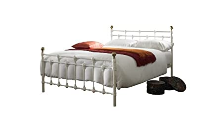 Oxford Small Double (4ft) metal bed frame - White/Gold (off White)