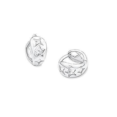 s.Oliver Kinder-Creolen Girls 12 mm 925 Silber rhodiniert Zirkonia weiß Rundschliff - 541268