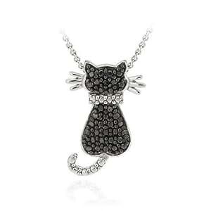Eleganter Katzen Ketten-Anhänger mit schwarzem Diamant Akzent, Sterling Silber