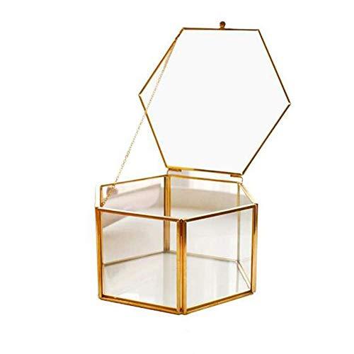ZYJFP Spiegelglas Sechseckiges Schmuckkästchen, Clear Ring Box Schmuck Aufbewahrungsbox Collection Organizer, Home Storage