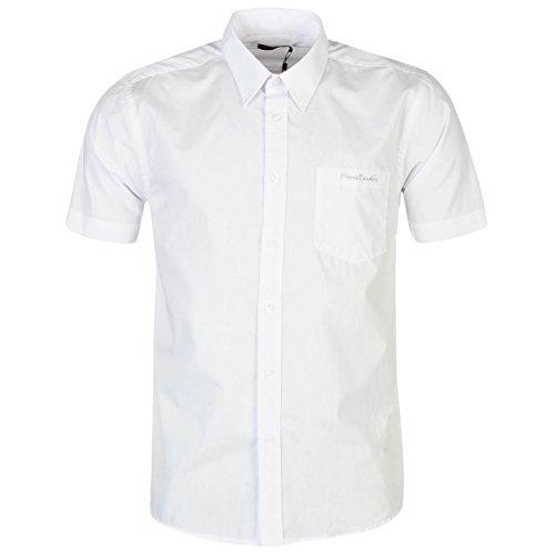 Pierre cardin–camicia da uomo a maniche corte con fantasia e chiusura a bottone bianco l