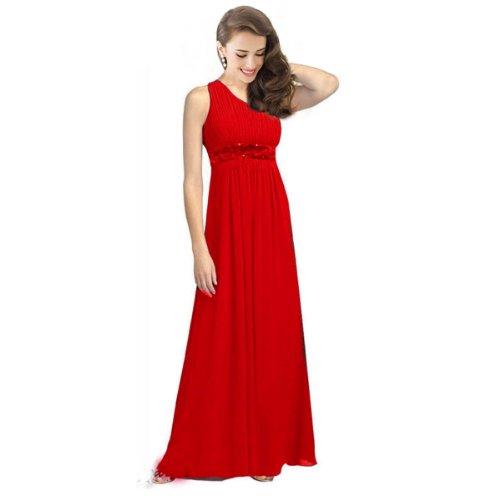 FASHION pLAZA de soirée asymétrique en chiffon élégante ballkleider d0110 à paillettes - Rouge