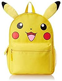 "Pokemon Pikachu Plush School Backpack 16"" Large Bag With Ear"