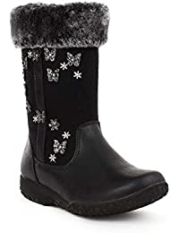 Walkright Girls Black Faux Fur Ankle Boot