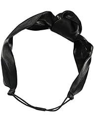 Clásico negro plata brillo flor con textura pelo banda chic accesorios diadema de pelo