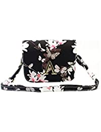 ELECTROPRIME Women PU Leather Floral Print Shoulder Small Crossbody Bag(Black)
