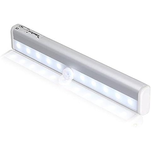 LemonBest® 10 LED inalámbrico PIR Motion Sensor luces, Elegante luz de la noche con la tira magnética para Armario / cajón / Camino luz de la noche / el armario bastidor / Noche Pequeño Luz / lámpara del tronco