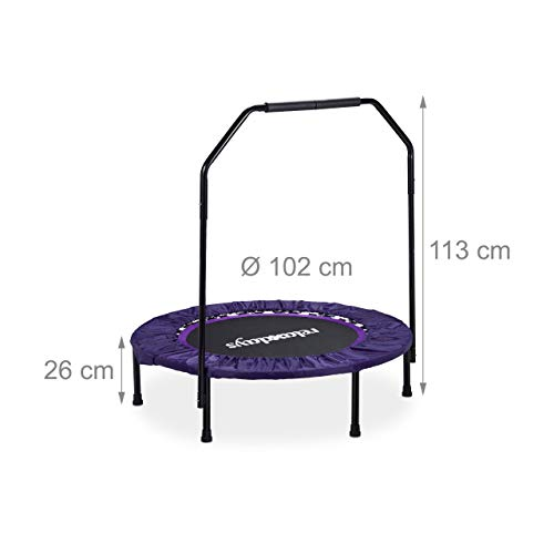 Relaxdays Trampolin faltbar mit Haltestange Indoor H x B x T: 113 x 102 x 102 cm Maximalbelastung: 120 kg schwarz-lila - 4