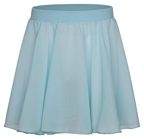 tanzmuster Kinder Ballettrock Eva zum Reinschlüpfen aus Baumwolle und Chiffon in hellblau, Größe:152/158 (Kostüm Sally Kind)