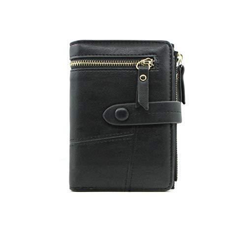 Weiblich Damen Geldbörse Kurze Faltbare Multifunktionshandtasche kleine Prise Griff Tasche (Farbe : Black) -