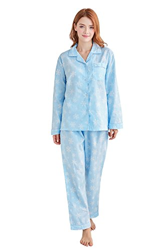 Tony & Candice Damen 100% Baumwolle Pyjama, Langarm Nachtwäsche / Loungewear (M=EU (40-42), Blaue und weiße Schneeflocke) (Damen Pj Pyjama Baumwolle)