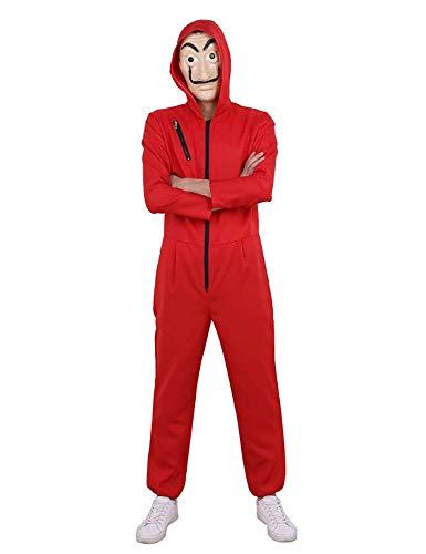 Haus des Geldes Kostüm Overall mit Dali Maske Cosplay Dali Rot Anzug Halloween (L)