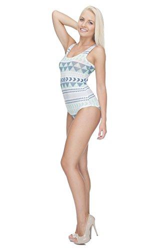 One Piece da donna corpo Bikini costume da bagno costume da bagno Teenage Fashion Spiaggia Piscina costume monokini AZTEC TURQUOISE