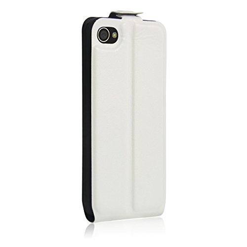 4S Hülle, iPhone 4S Hülle, Lifeturt [ Weiß ] Luxus PU Leder Brieftasche Flip Case Cover Schütz Hülle Abdeckung Ledertasche mit Standfunktion Karteneinschub und Magnetverschluß Etui Flip Case für Apple E02-Weiß