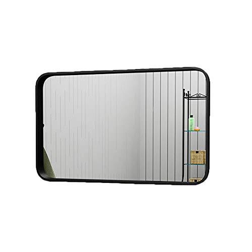 Mirror caicolor specchio decorativo per vestire lo specchio quadrato a parete in ferro battuto semplice nordico (colore : nero)