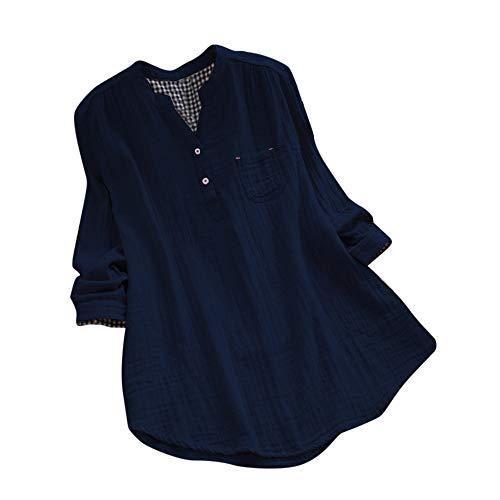 SEWORLD Damen Sport Freizeit Oberteile Bluse Herbst damen Langarm Plaid V-Ausschnitt Lose Bluse Pullover Button Tops Shirt(Z2-c-Marine,EU-38/CN-L) - Plaid Pullover