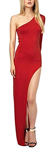SunIfSnow Damen Schlauch Kleid, Einfarbig Gr. S, rot (Lace Skirt Metallic Pencil)