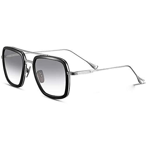 SHEEN KELLY Luxus Retro Sonnenbrille Quadratische Brillen Metallrahmen für Männer Frauen Klassiker Sonnenbrille Piloten Silber Schrittweise Linsen, Grau ...