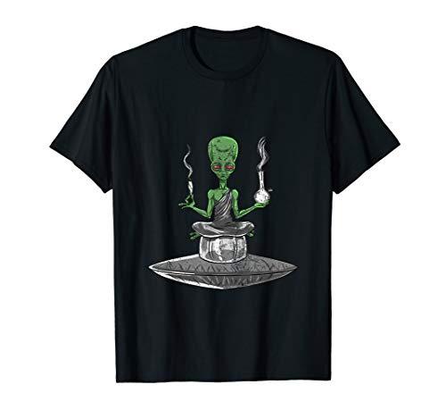 Alien Smoker Bong Funny ET 420 Space Weed Marijuana Gift T-Shirt