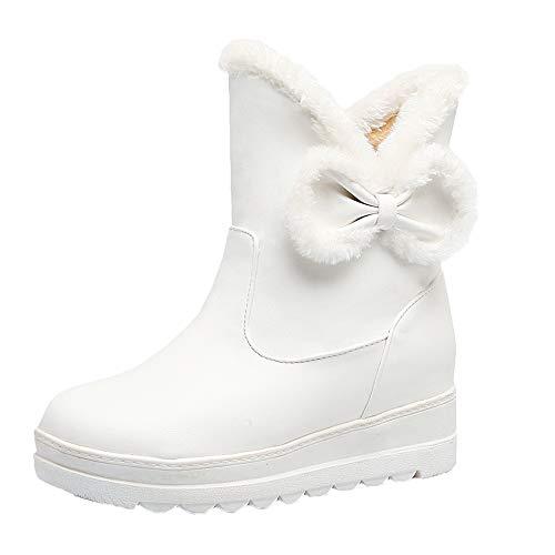 (MYMYG Damen Schneestiefel Halbschaft Stiefeletten Frauen Winter Bow Flat Keep Warm Schuh Rutschfeste Kurze Schlauch Boots Warme Plüsch Gefüttert)