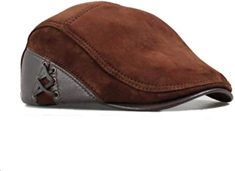 LIUXINDA-PM Cappello da Pelle Uomo in Pelle da Autunno e Inverno Cappello  Casual Europeo afb1dd25d436