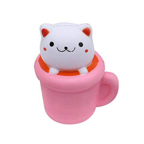 langsam steigende Katze in einer Tasse Squisht niedlichen Kätzchen Becher Kawaii weichen duftenden Memory-Schaum-Simulation Tier Stress Relief Spielzeug Spaß Squeeze Geschenk (Tasse Weiche)
