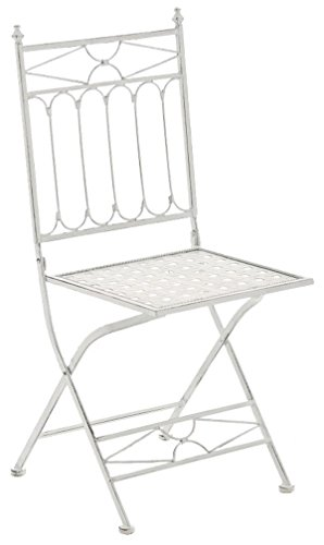 Chaise en fer coloris blanc antique - 95 x 40 x 40 cm - PEGANE-