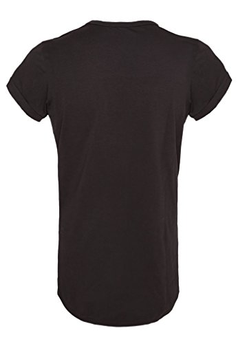 GFP - Men Rundhals-Shirt - Long Oversize Shirt - white/black Schwarz