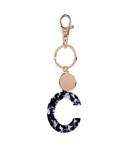 SIX Damen Schlüsselanhänger, Anhänger, Buchstaben, Initialien, C, Kreis, Karabiner, Marmor, Gold, weiß, schwarz (223-972)