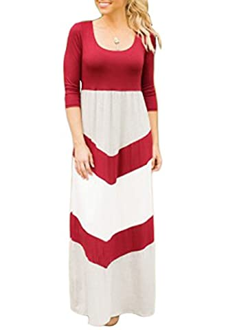 OMZIN Mommy und Daughter Outfits Sommer Striped Casual Maxi Langes Kleid (Kinder, Wein Rot / Weiß, 2-3