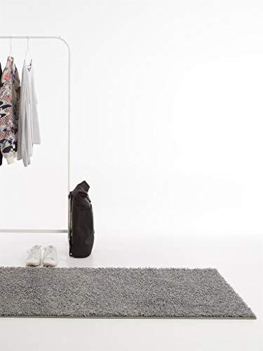 benuta Hochflorteppich Swirls Shaggy Langflor Grau 80x300 cm Kunstfaser