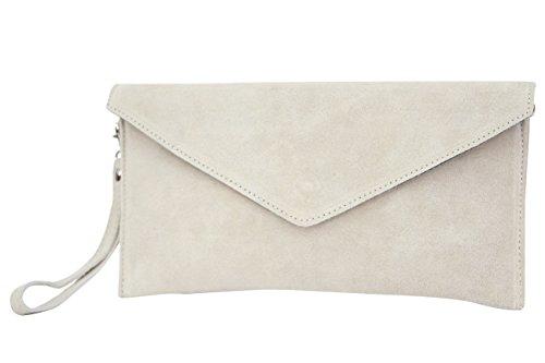 AMBRA Moda Damen Wildleder Envelope Clutch Abendtasche Partytasche Handschlaufe Suede Handgelenktasche Schultertasche Umhaengtasche Unterarmtasche Damentasche Veloursleder WL801 (Beige) (Clutch Tasche)