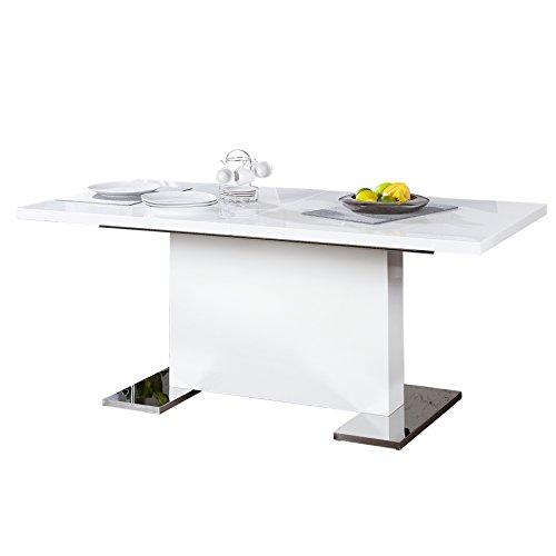 Design Esstisch POLAR weiß Hochglanz 160 - 200 cm ausziehbar chrom Konferenztisch Tisch Esszimmer