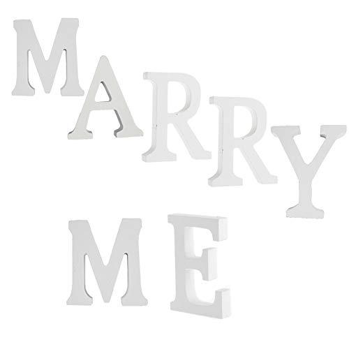 Dekorative Holz Buchstaben, hängende Wand Buchstaben aus Holz Alphabet Wand Buchstaben für Kinder Baby Name Mädchen Schlafzimmer Hochzeit Geburtstag Party Home Decor-Briefe (MARRY ME) (Wand Buchstaben Holz)