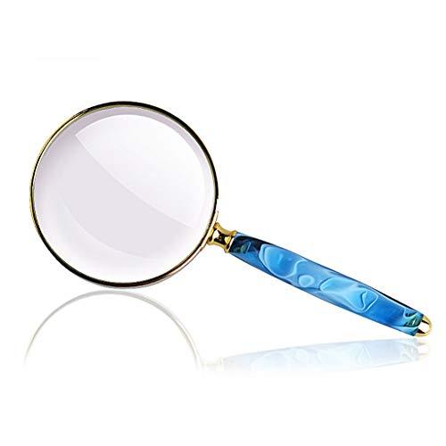 Handlupe 10 mal Handy Reparatur lesen Vergrößerter Spiegel 80mm unbeleuchtete tragbare Lupe, Schmucklupe, Uhr, elektronische Reparatur,Blue-80mm