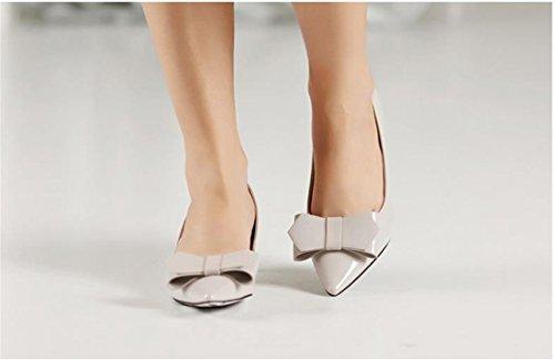 QIYUN.Z Bowknot Casual Orteil Pointu Femmes Kitten Heels Dame Ol Chaussures Pompe Nouveau Printemps Gris