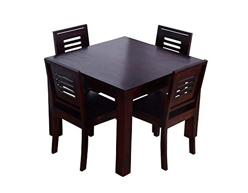 Hariom Handicraft Sheesham Wood Wooden Dining Set 4 Seater, Dining Table with Chairs, Mahogany Finish