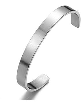 18CM Klassiker Herren Damen Armband Armreif aus Edelstahl Farbe Silber Satiniert