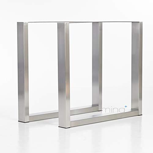 Tischgestell Rechteck-Form modern I 80 x 40 mm Profil I hochwertiger Edelstahl gebürstet I 72 cm hoch I Indoor & Outdoor I Untergestell für Ess-, Schreib-, Gartentisch etc. I 1 Paar (2 Stück) - Quadratische Metall-tischbeine