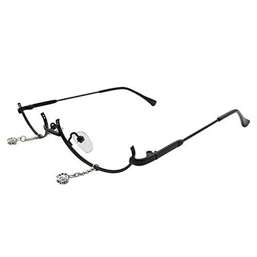 Whycat brillenfassungen damen retro Metall Brillengestell, weibliche untere Rahmenhälfte Flachspiegel Wassertropfen Dekorative Brillen(Schwarz)