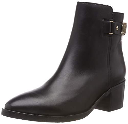 Tommy Hilfiger Damen TH Buckle MID Heel Boot Leather Stiefeletten, Schwarz (Black 990), 39 EU
