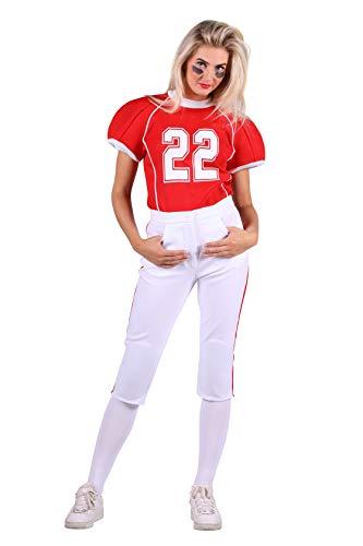 American Football Spielerin Kostüm Damen Rot Schwarz Weiß Fottball-Spieler Rugby-Spieler Karneval Fasching Hochwertige Verkleidung Fastnacht Größe XL - Dame Spieler Kostüm