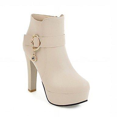 Rtry Women's Leatherette Chaussures Hiver Printemps Mode Bottes Chunky Bottes Round Toe Perlé Pantoufles / Bottines Bureau Et Casual Strass Us9 / Eu40 / Uk7 / Cn41