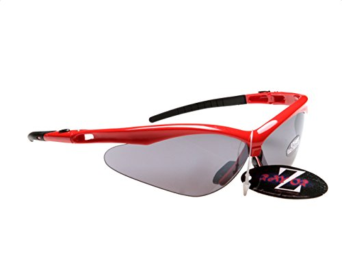 Rayzor Professionelle Leichte UV400 Rot Sports Wrap Laufen Sonnenbrille, Mit einem Smoked Mirrored Blend Lens. -